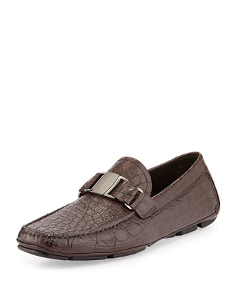 Sardegna 2 Buckled Crocodile Loafer, Brown
