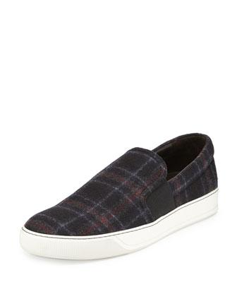 Plaid-Wool Slip-On Sneaker, Blue Multi