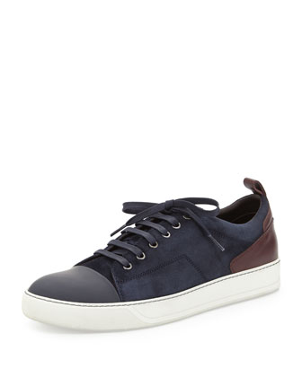 Two-Tone Suede Sneaker, Navy/Burgundy