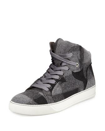 Plaid-Wool High-Top Sneaker, Gray Multi