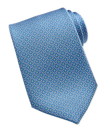 Gancini Floral-Print Silk Tie, Light Blue