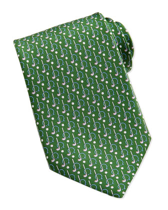 Gancini Golf Pattern Silk Tie, Green