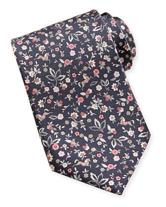 Ramage Horse & Flower Tie, Gray