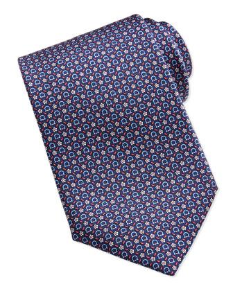 Gancini Floral-Print Silk Tie, Navy/Red