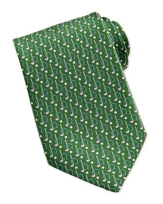 Gancini Golf Pattern Silk Tie, Green