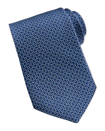 Gancini Pattern Silk Tie, Navy/Yellow