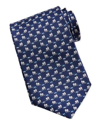 Dog Pattern Silk Tie, Navy