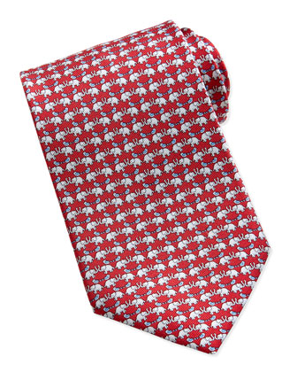 Elephant/Bird Pattern Silk Tie, Red