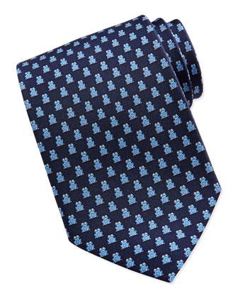 Frog Pattern Silk Tie, Navy