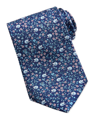 Ramage Fox Pattern Silk Tie, Navy/Red