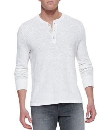 Slub-Knit Basic Henley, White