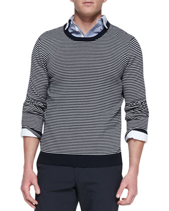 Jayden Striped Crewneck Sweater, Navy/White