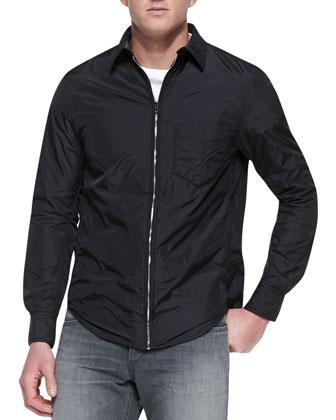 Daltry Nylon Zip-Down Shirt, Black