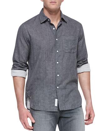 Button-Down Beach Shirt, Charcoal