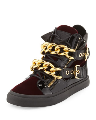 Men's Velvet Double-Chain High-Top Sneaker