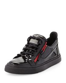 Men's Patent Double-Zip Low-Top Sneaker