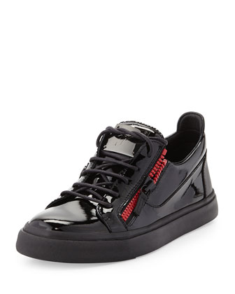 Men's Patent Double-Zip Low-Top Sneaker