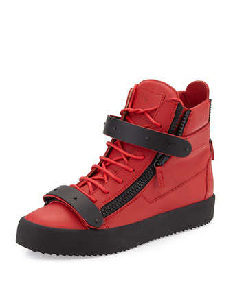 Men's Matte-Leather High-Top Sneaker, Red