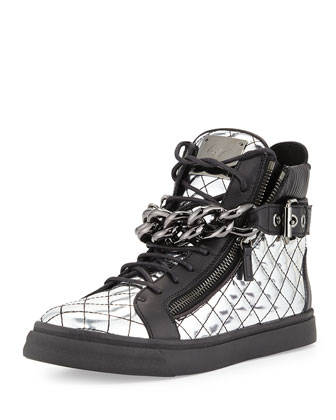 Men's Quilted Metallic-Leather Chain High-Top Sneaker