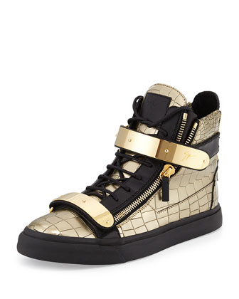 Men's Faux-Croc High-Top Sneaker, Gold