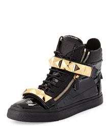 Men's Patent Stud-Strap High-Top Sneaker