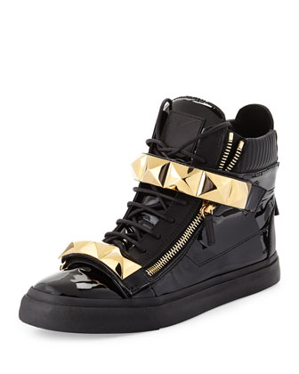 Men's Patent Stud-Strap High-Top Sneaker