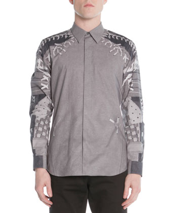 Baseball-Print Woven Shirt, Dark Gray