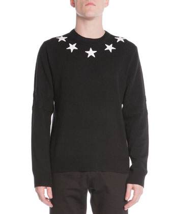 Star-Trim Pullover Sweater, Black