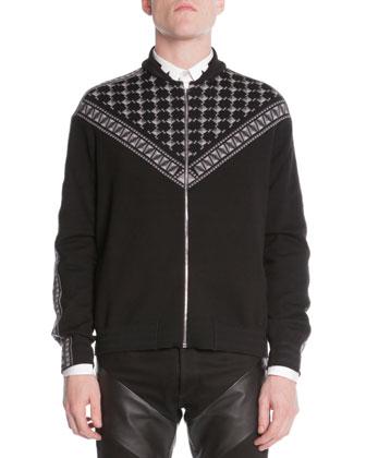 Scarf-Print Zip-Front Sweater, Black/Gray