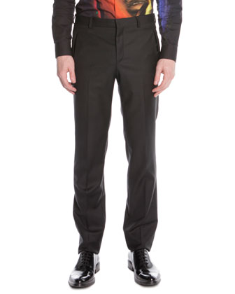 Stretch-Wool Suit Trousers, Black