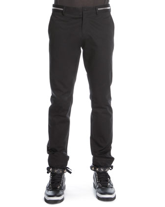 Zipper-Waist Trousers, Black