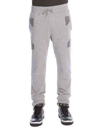 Denim-Patchwork Sweatpants, Gray