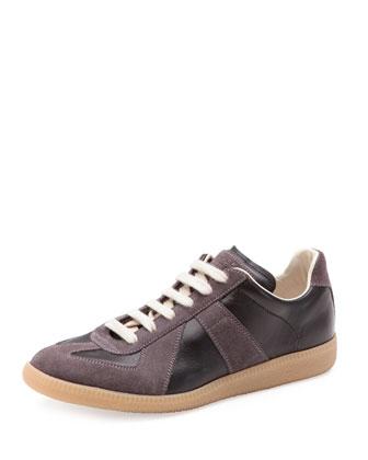 Replica Leather Low-Top Sneaker, Black/Graphite