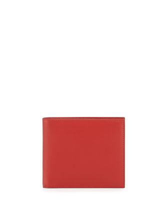 Calfskin Bi-Fold Wallet, Red