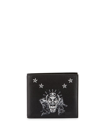 Elmirinda Print Leather Billfold Wallet, Black/White