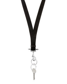 Men's Lanyard Key Ring Necklace, Black