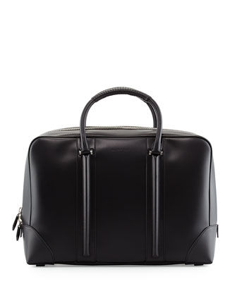Men's Small Leather Weekender Bag, Black