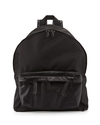 Men's Nylon & Leather 17 Backpack, Black