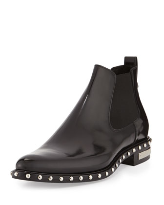 Studded Leather Chelsea Boot, Black