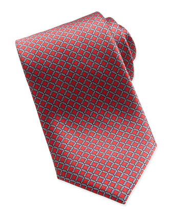 Lattice Neat Silk Tie, Red
