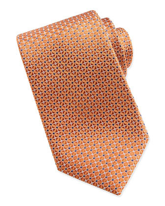 Mix-Square Pattern Silk Tie, Orange