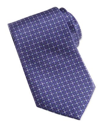 Geometric-Pattern Silk Tie, Violet