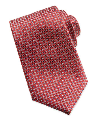 Mix-Square Pattern Silk Tie, Red