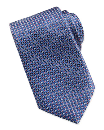 Mix-Square Pattern Silk Tie, Bright Blue