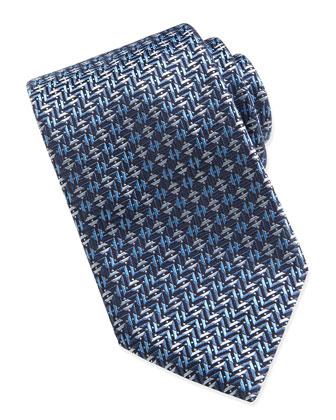 Geometric Basket-Weave Tie, Blue