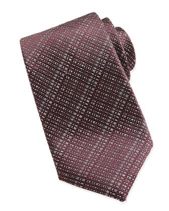 Open-Weave Crosshatch Tie, Burgundy