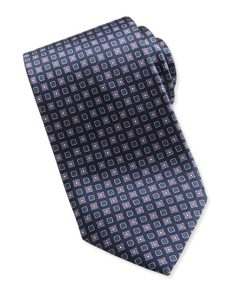 Geometric-Square Pattern Tie, Navy