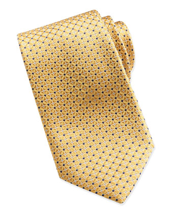 Mix-Square Pattern Silk Tie, Yellow