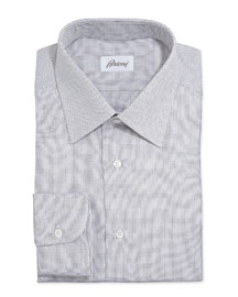 Lattice-Weave Poplin Dress Shirt, Brown