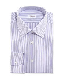 Rope-Stripe Woven Dress Shirt, Lavender